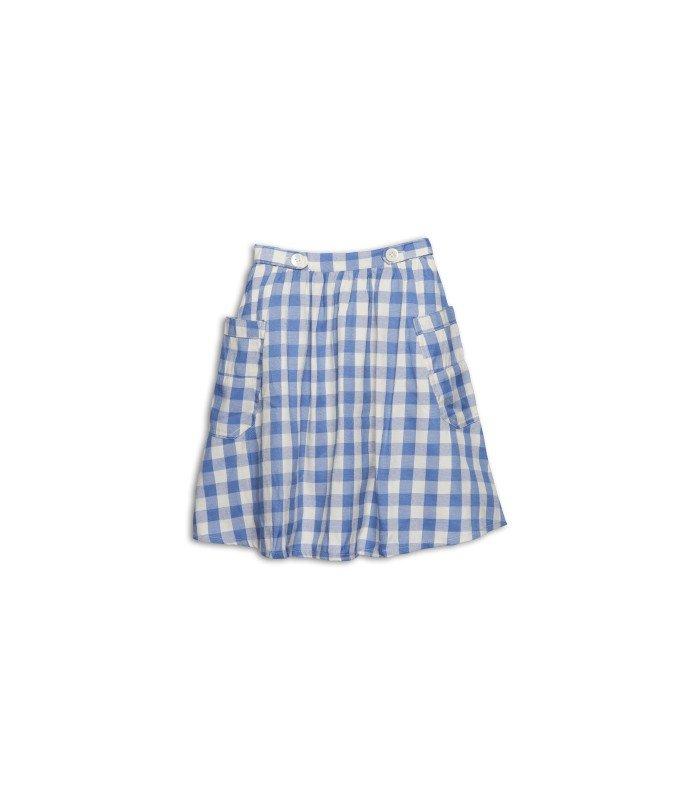 Blue Checkered Skirt by Wander & Wonder