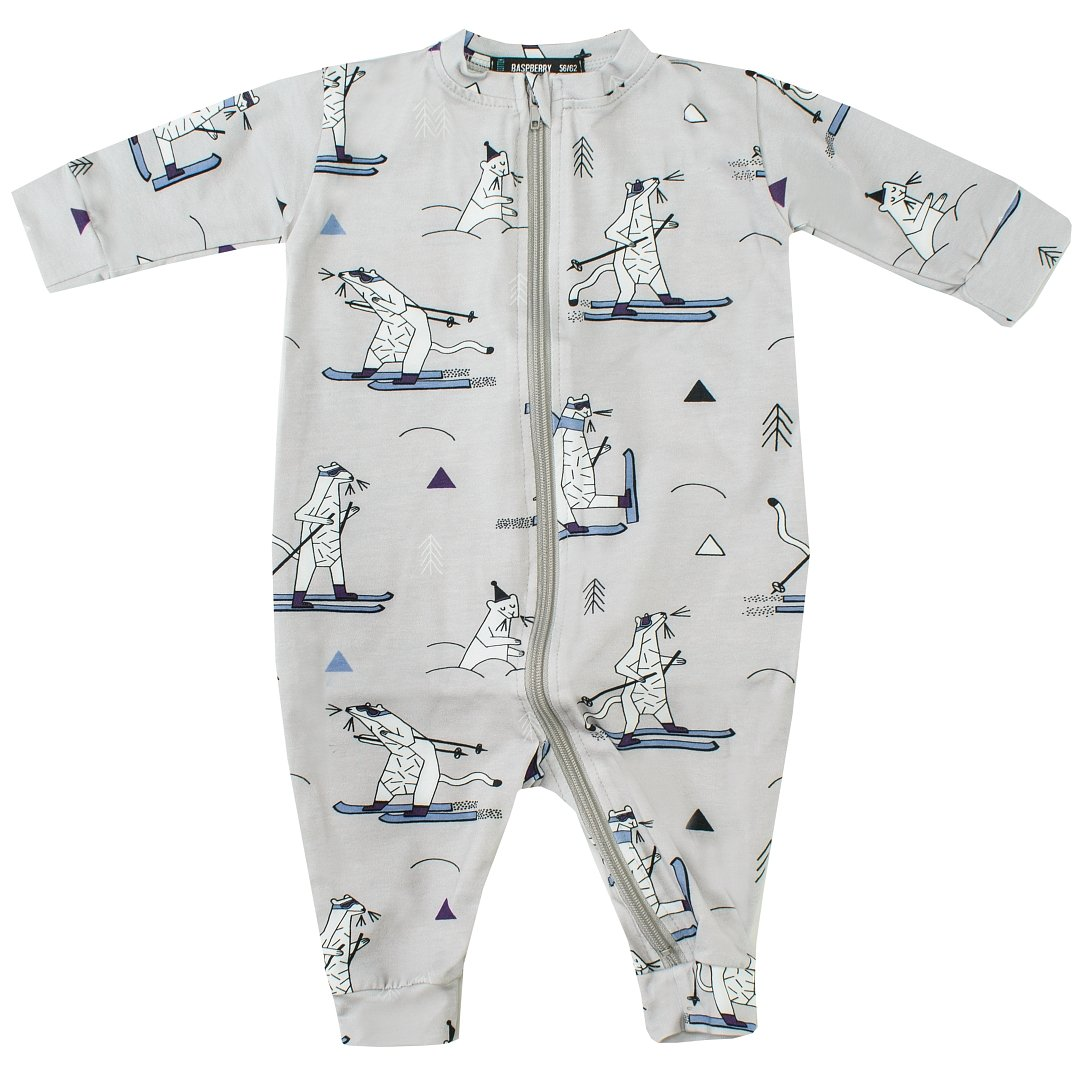 Snow Weasel Zipper Romper by Raspberry Republic