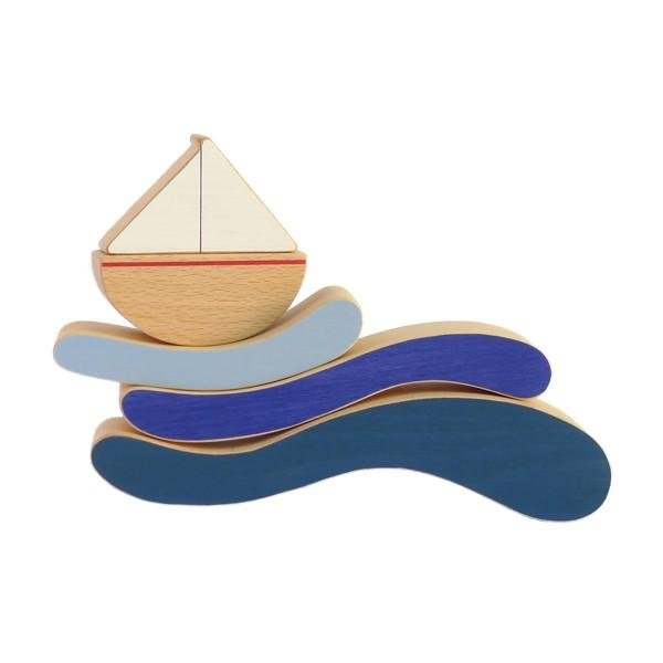Boat and Waves Stacking Toy by Wandering Workshop