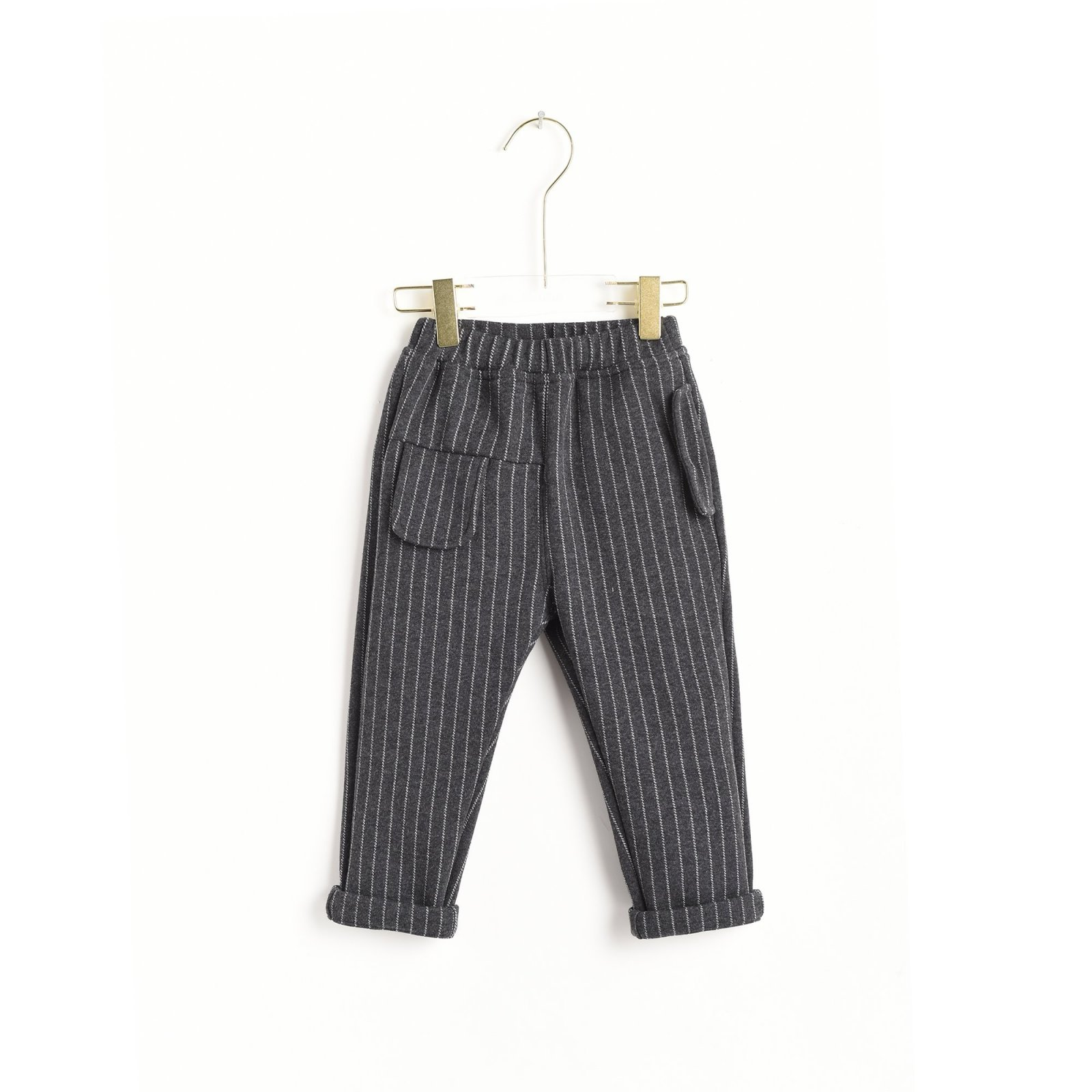 Charcoal Grey Striped Pants by Aimama