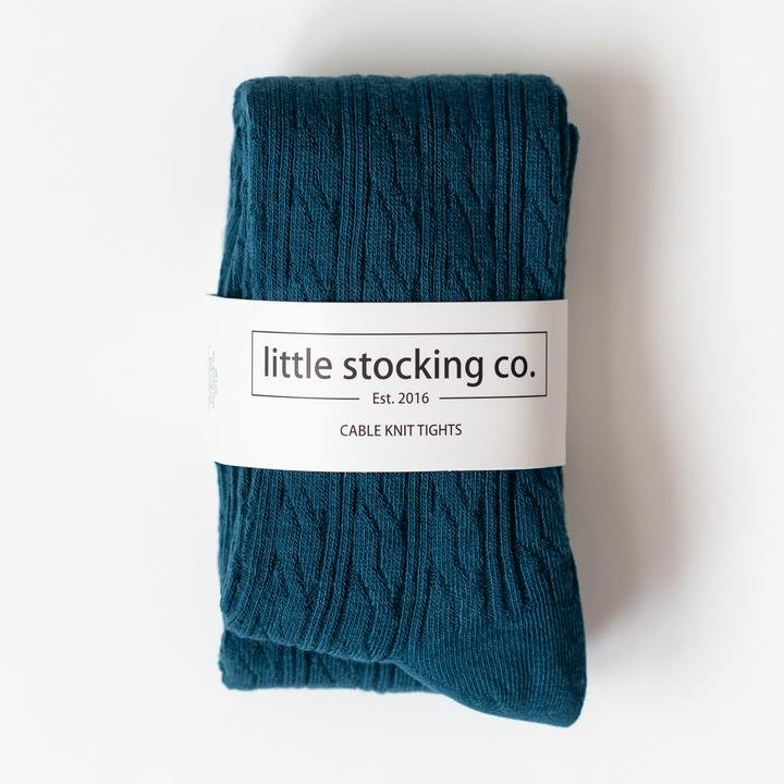 Cable Knit Tights - Teal by Little Stocking Co.