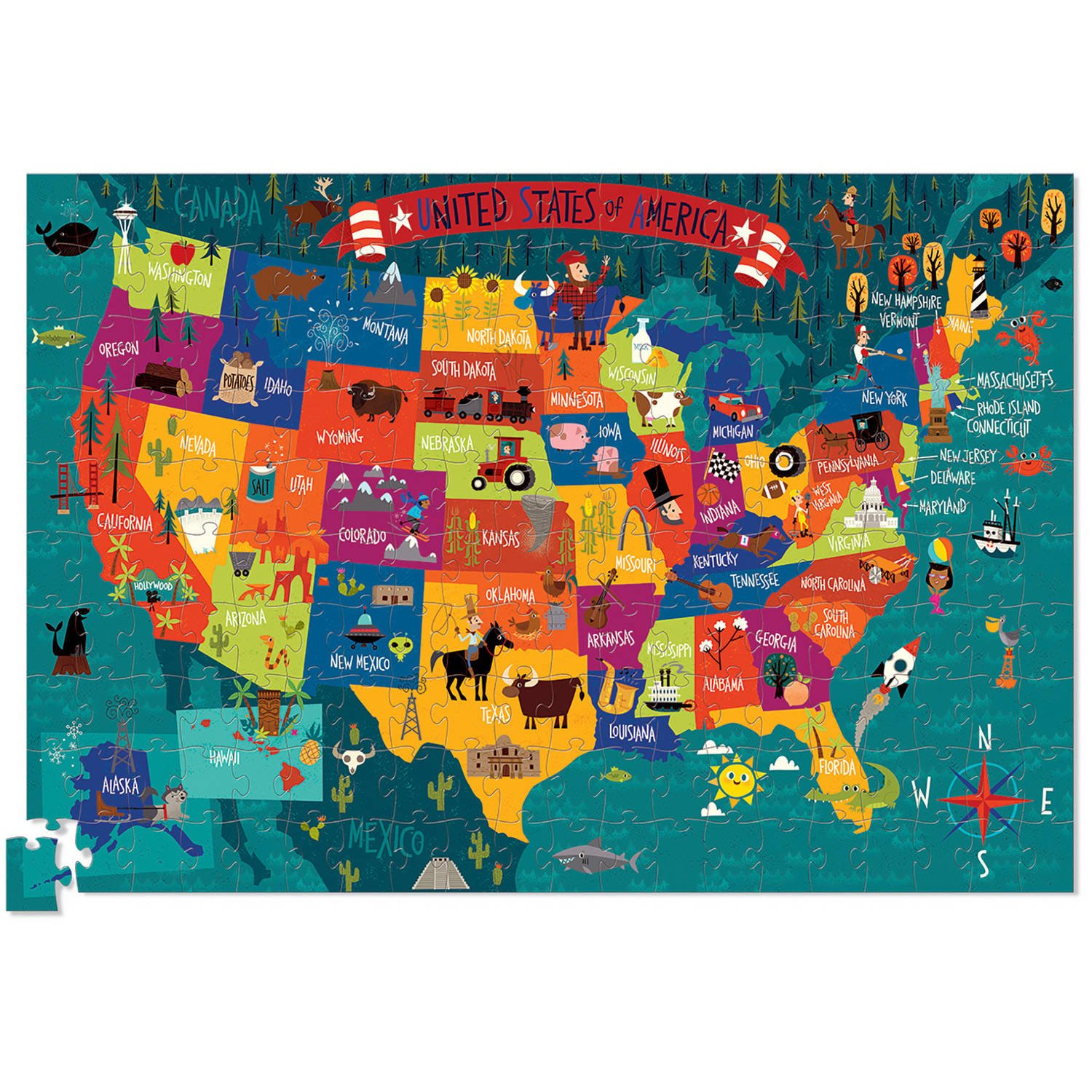 USA 200 Piece Puzzle And Poster by Crocodile Creek