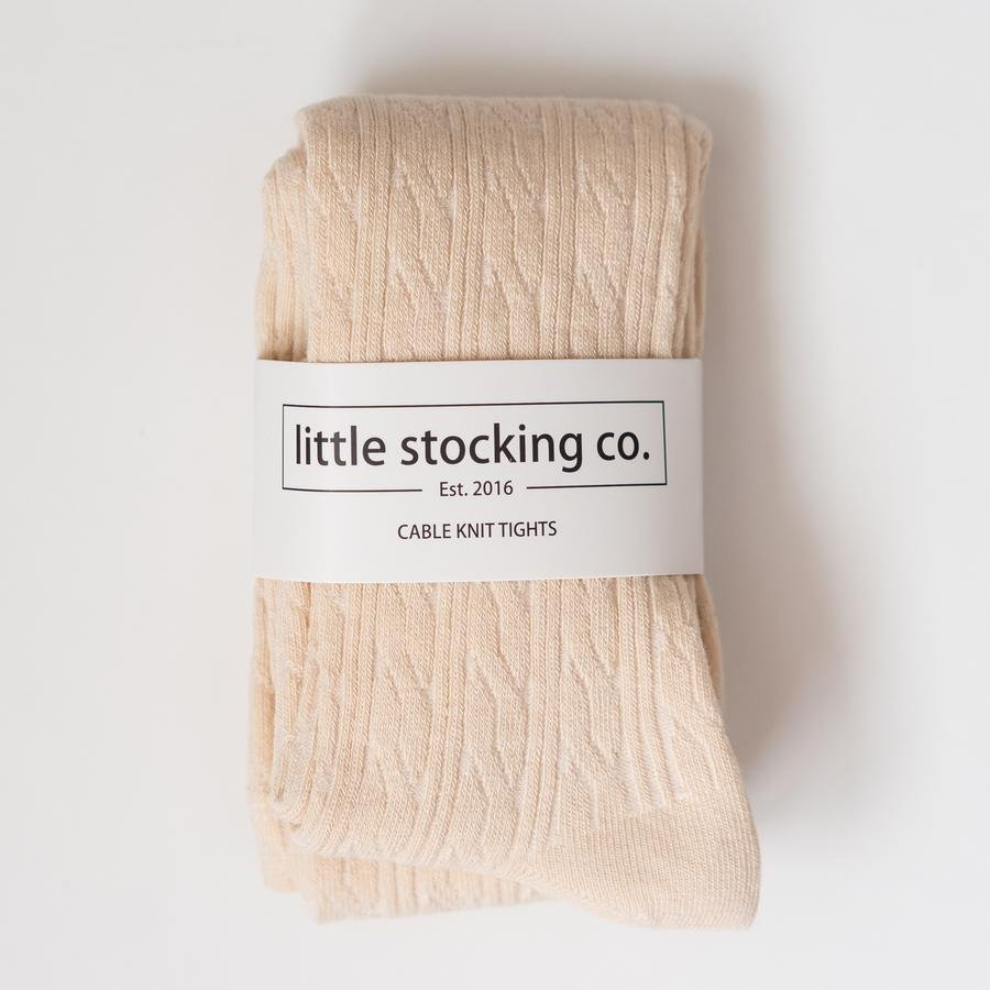 Cable Knit Tights - Vanilla by Little Stocking Co