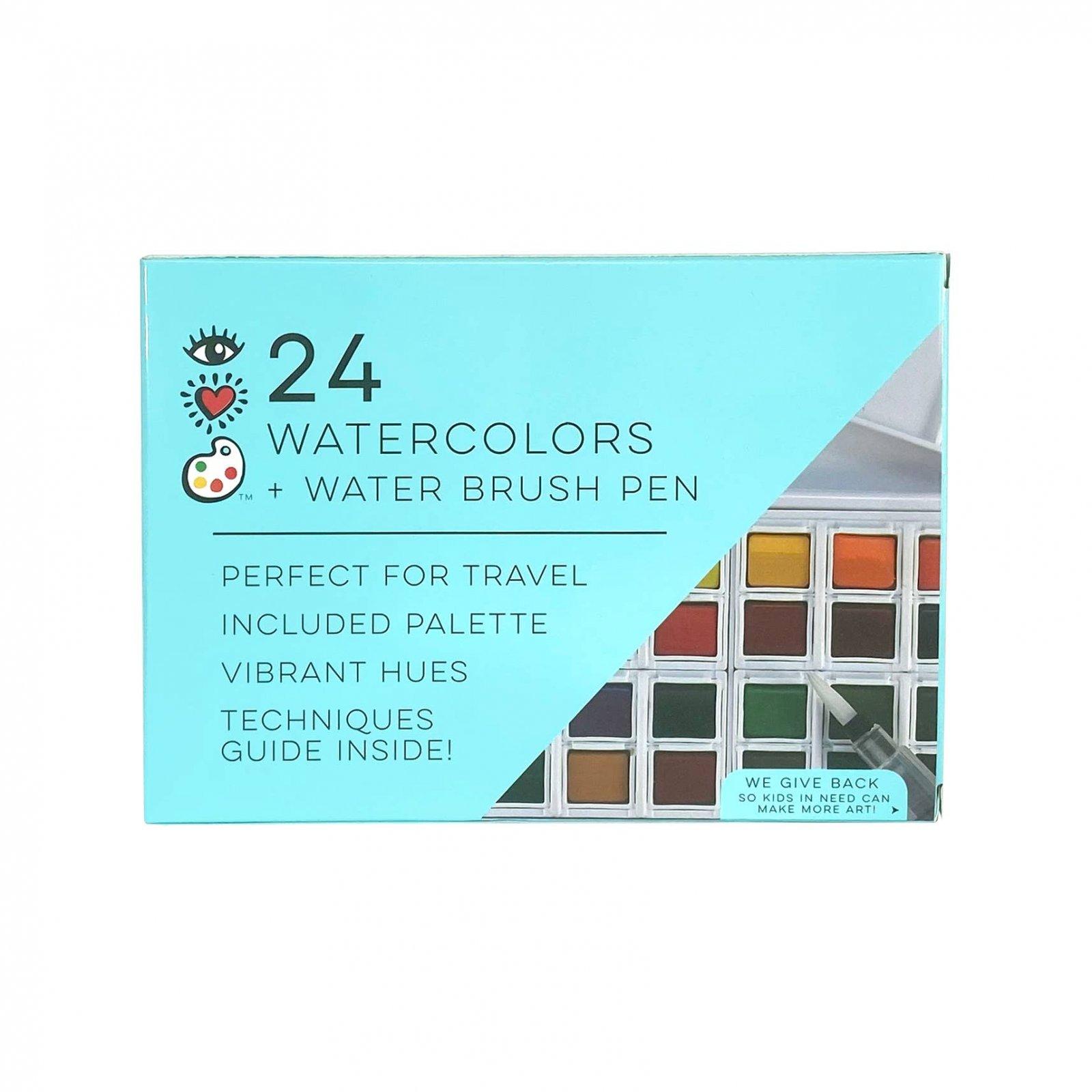 24 Watercolors + Water Brush Pen by I Heart Art