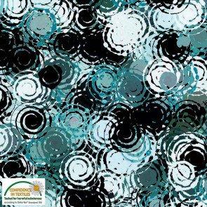 Avalana Viscose Aqua Blk Circles Knit