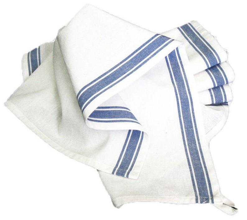 Retro Stripe Towels Blue White