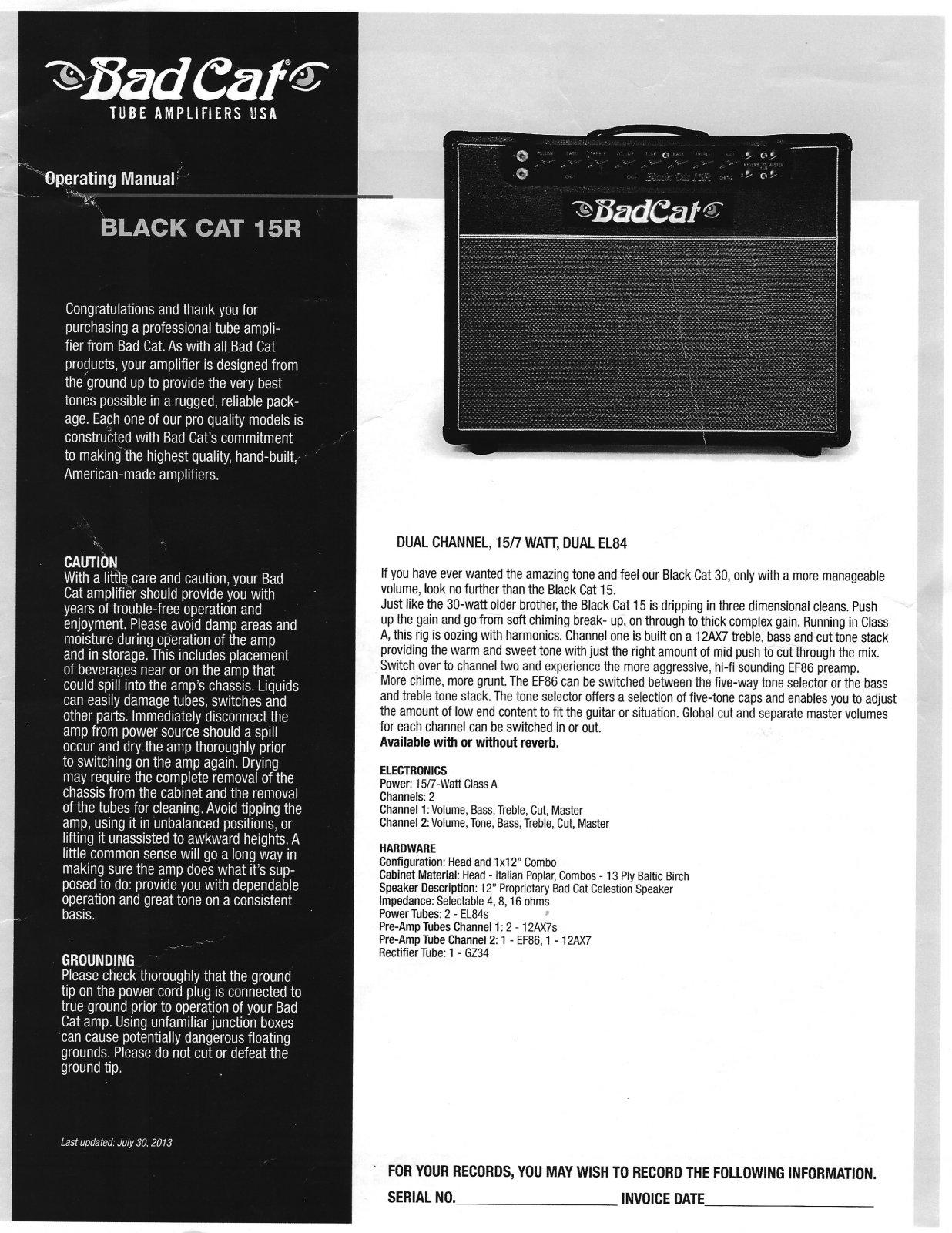 USED - Bad Cat Black Cat 15