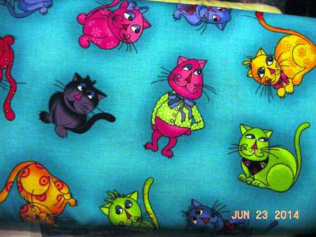 Loralie Designs - Tossed Cool Cats - Turquoise