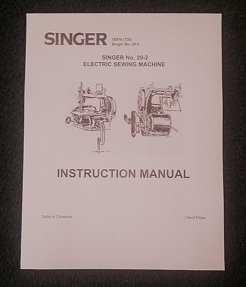 Singer Toy Model 20-2 Electric (7 Spoke - Oval Base) Instructions