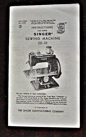 Singer Toy Model 20-10  (7 Spokes-Rectangular Base) Instructions