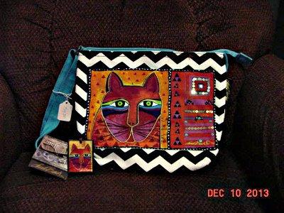 Laurel Burch Crossbody Bag - Whiskered Cats - 5320A