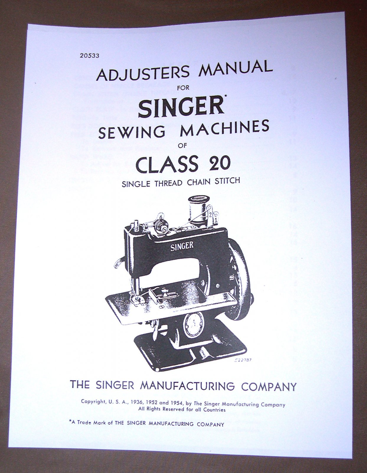Adjusters Manual for Singer Sewing Machines Class 20