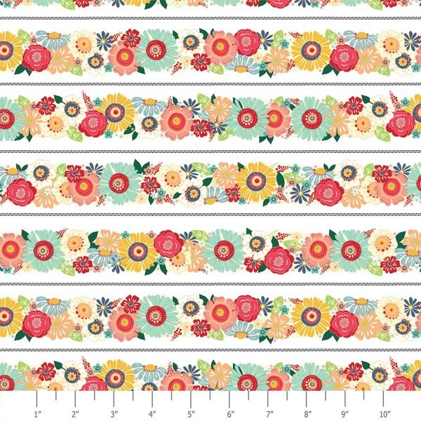 ADORNit Flamingo Fever Flamingo Bloom Trim Floral Stripe Cotton Fabric