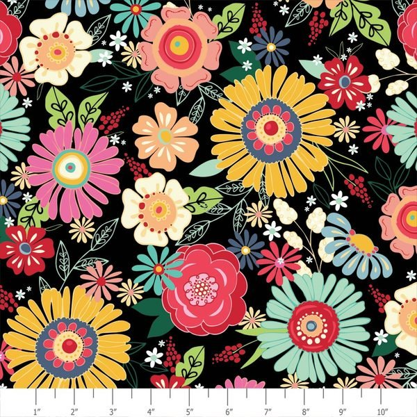 ADORNit Flamingo Fever Chica Blooms Flowers Floral Cotton Fabric