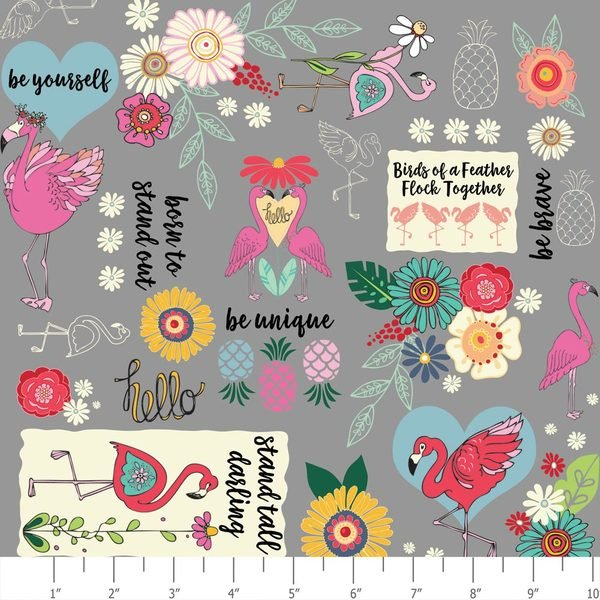 ADORNit Flamingo Fever Flamingo and Words On Gray Cotton Fabric