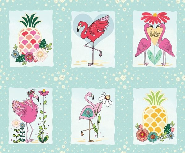 ADORNit Flamingo Fever Let's Flamingle & Pineapple Cotton Fabric Panel