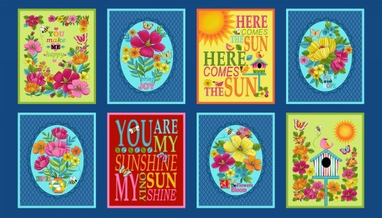 Studio E Sunshine Kisses Blocks Inspirational Sayings Cotton Fabric Panel