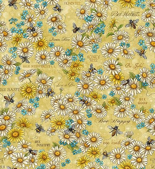 Paintbrush Studio Bee Kind Floral and Bee's Cotton Fabric