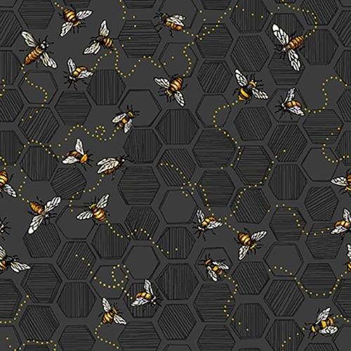 Paintbrush Studio Bee Kind Honeycomb and Bees on black