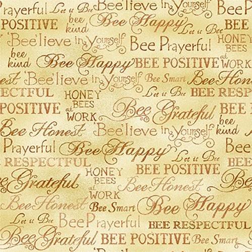 Paintbrush Studio Bee Kind Words Gold Cotton Fabric