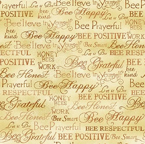 Paintbrush Studio Bee Kind Words Gold Cotton Fabric