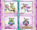 Multi Boho Owls Panel Digitally Printed Cotton Fabric