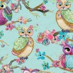 3 Wishes BOHO Owls Mint Owls on Limbs Cotton Fabric