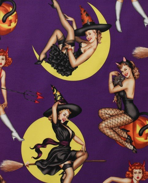 Alexander Henry Bewitched on Purple Halloween Witch Pin Up Girls Quilting Fabric