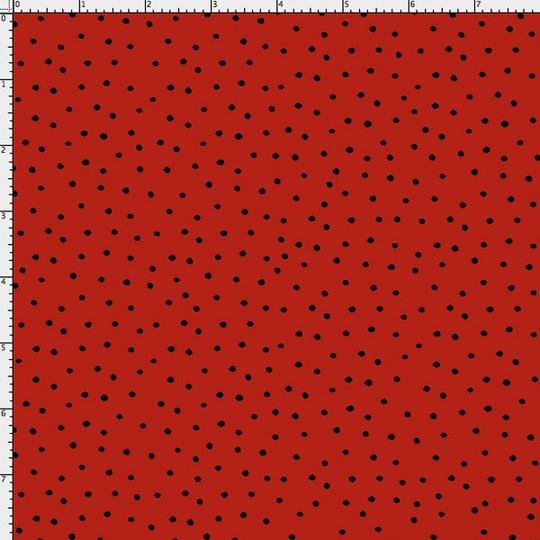 Loralie Designs Dinky Dots Red & Black Polka Dot Cotton Quilting Fabric