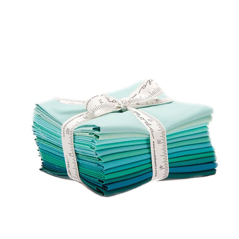 Moda Bella Solids Colors Teal Fat Quarter Bundle Set