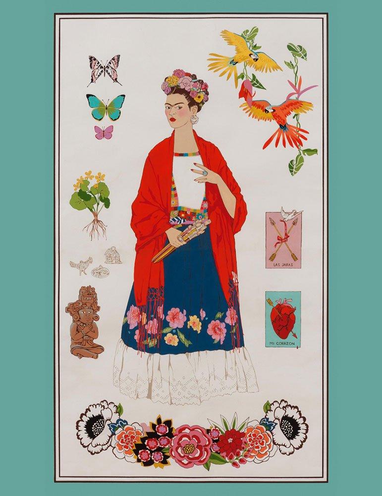 Alexander Henry L'Artista con Alma Frida Kahlo Bright Color Cotton Fabric Panel
