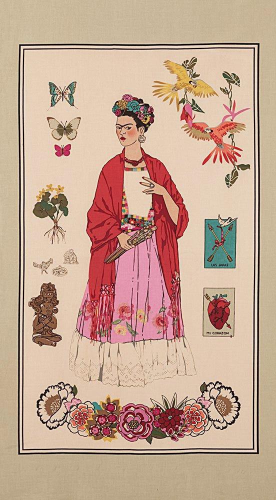 Alexander Henry L'Artista con Alma Frida Kahlo Tea Dye Color Cotton Fabric Panel