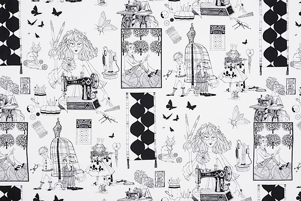Alexander Henry A Ghastlie Craft Ghastly Color Black and White Cotton Fabric