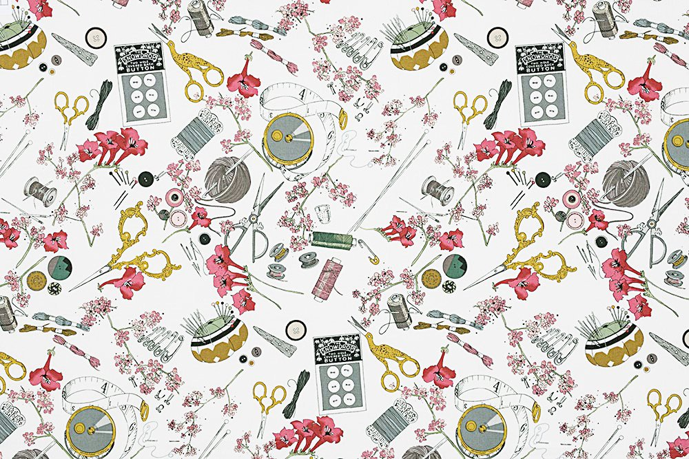 Alexander Henry A Ghastlie Notion Ghastly Color Natural Cotton Fabric