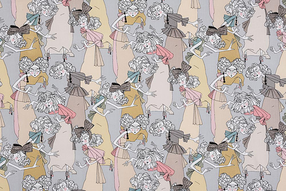 Alexander Henry A Ghastlie Casting Ghastly Color Grey Cotton Fabric