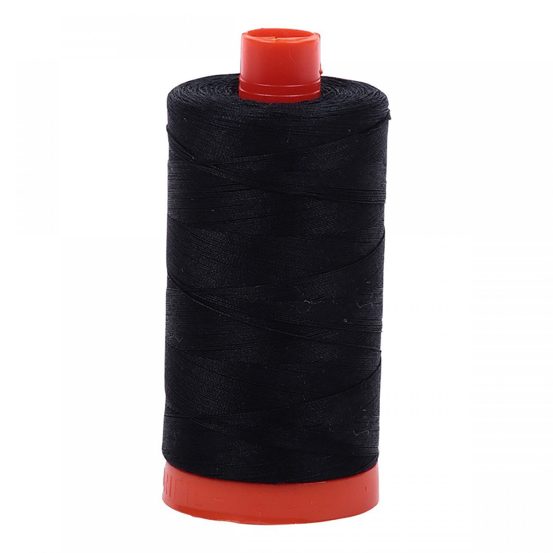 Aurifil Mako Cotton Thread Solid 50wt 1422yds 2692 Black