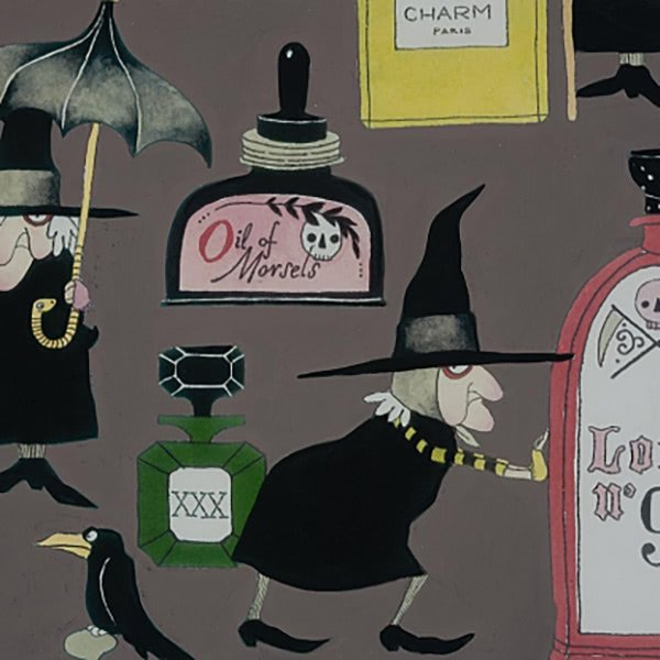 Alexander Henry Halloween Haunted House Lotions and Potions Grey Quilting Fabric