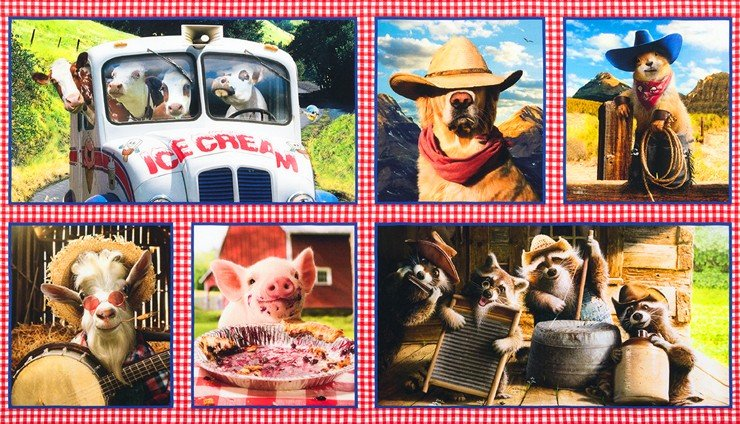 Robert Kaufman Summer Farmyard Buddies Cotton Fabric Panel