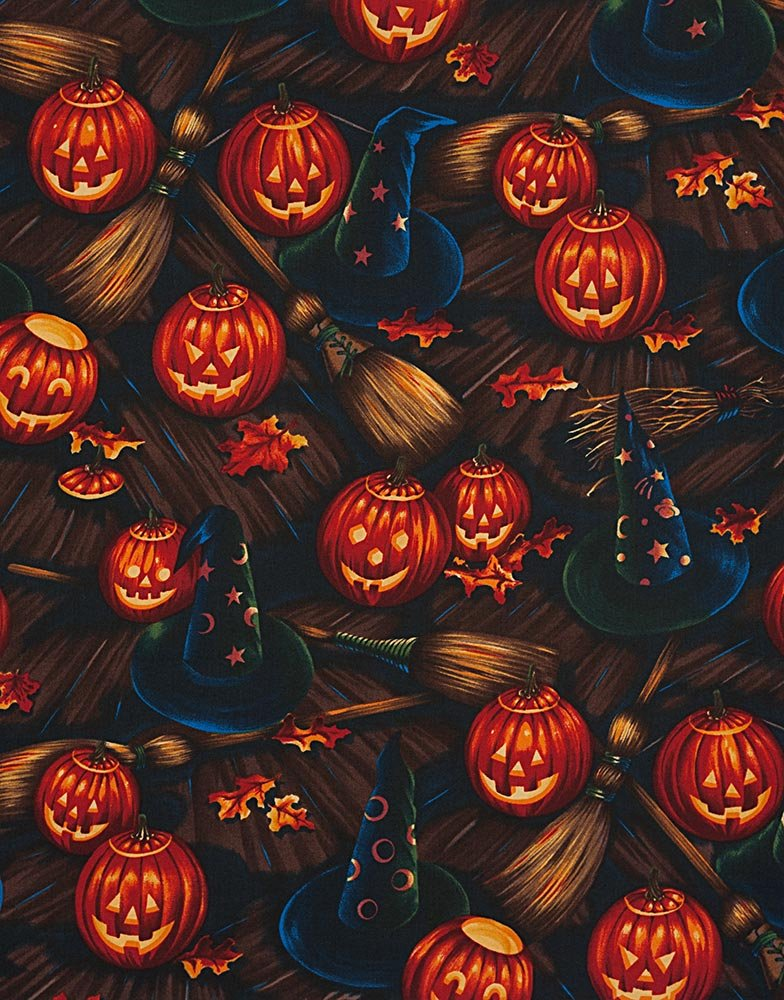 Alexander Henry Halloween Bellknobs and Broomsticks Witch and Pumpkin Quilting Fabric