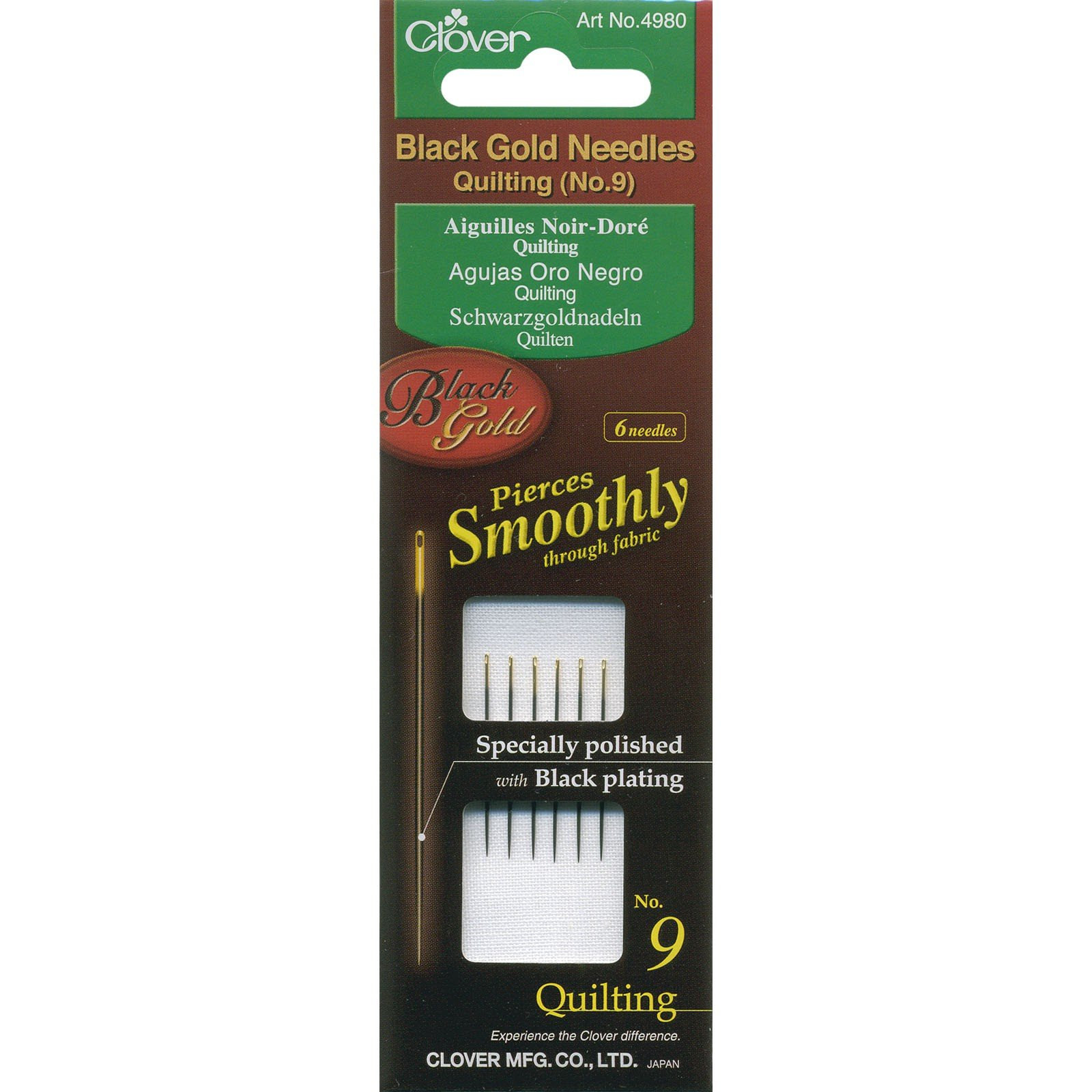 Clover Black Gold Quilting Needle sz. 9