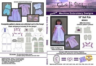 Sisters In Stitches 18 Doll PJs Embroidery Designs CD