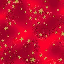 Laurel Burch Enchantment Christmas Gold Stars On Red Cotton Quilting Fabric