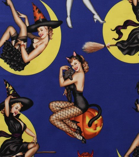 Alexander Henry Bewitched on Blue Halloween Witch Pin Up Girls Quilting Fabric