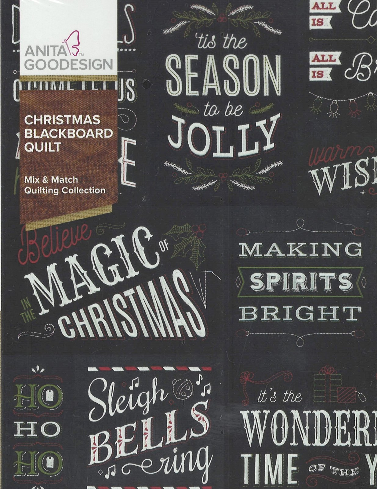 Anita Goodesign Machine Embroidery designs Christmas Blackboard Quilt  Full Collection CD