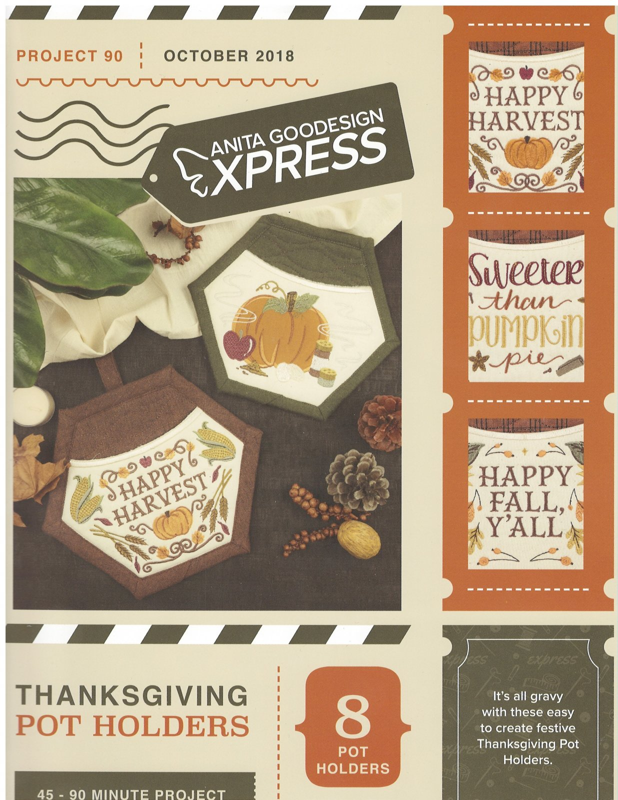 Anita Goodesign Express Machine Embroidery designs Thanksgiving Pot Holders Full Collection CD