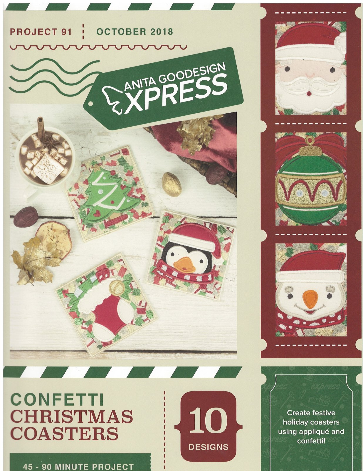 Anita Goodesign Express Machine Embroidery designs Confetti Christmas Coasters Full Collection CD