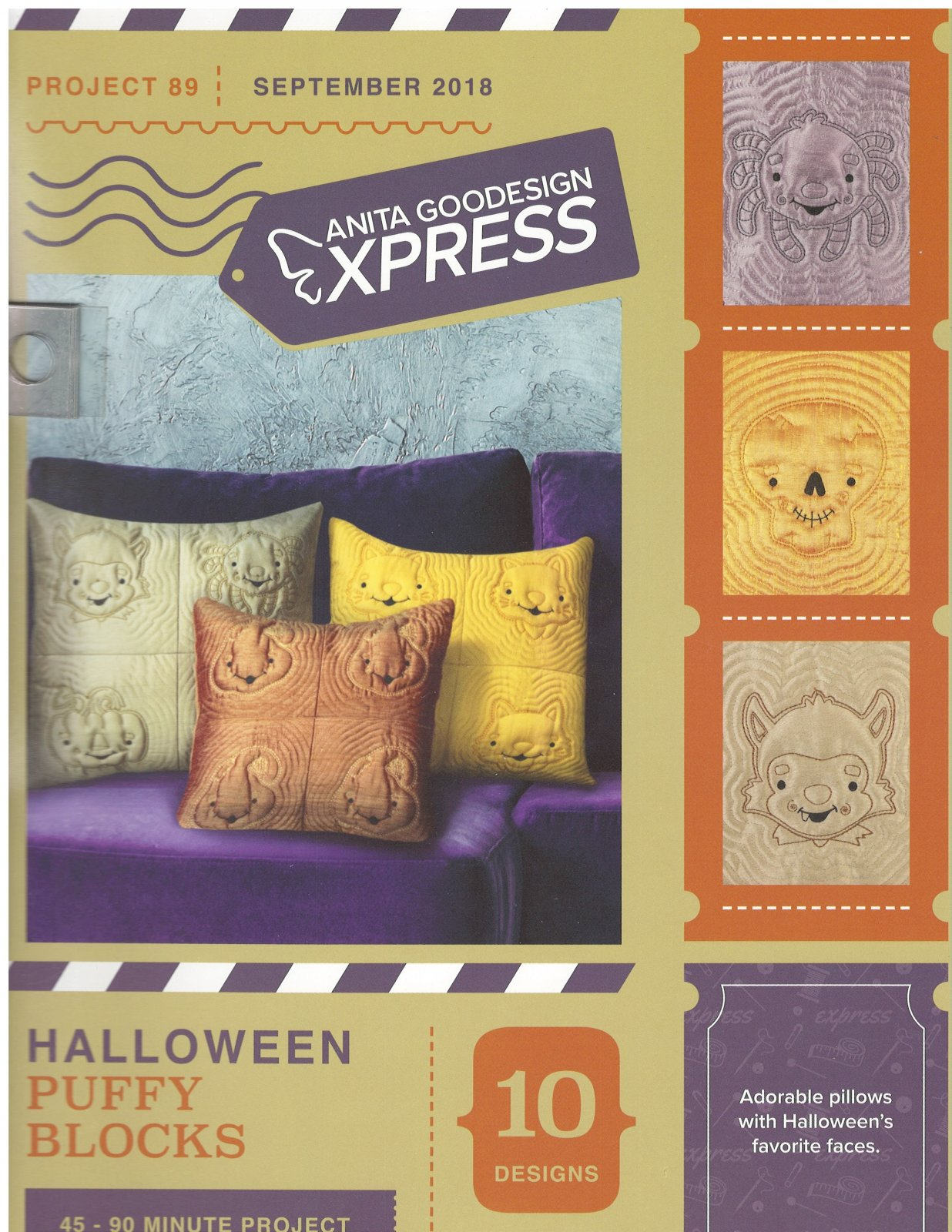 Anita Goodesign Express Machine Embroidery designs Halloween Puffy Blocks Full Collection CD