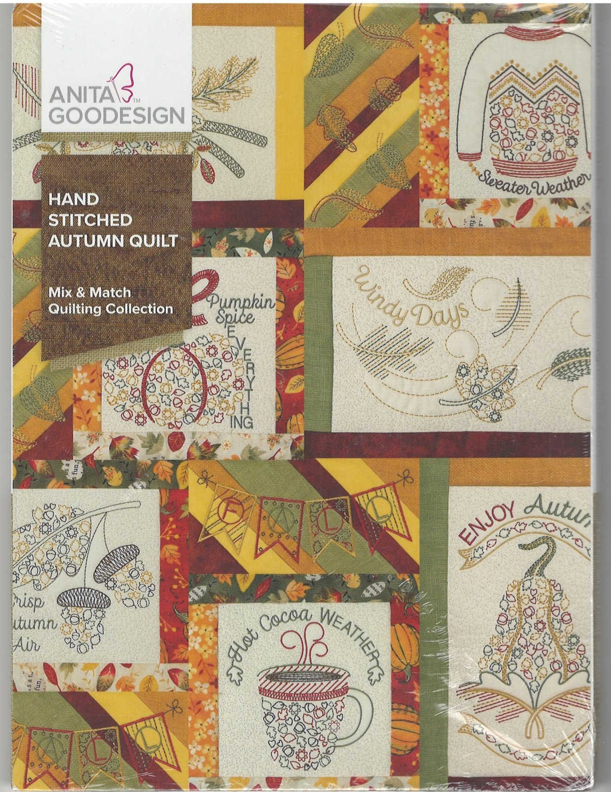 Anita Goodesign Machine Embroidery Designs Hand Stitched Autumn Quilt Full Collection CD