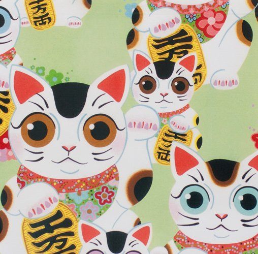 Alexander Henry Fuku Kitty Good Luck Kitty Cat Cotton Fabric