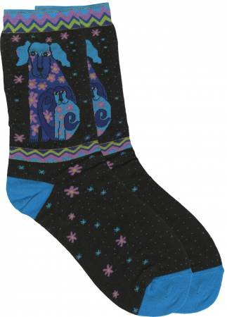 Laurel Burch Blue Puppy Dogs Socks